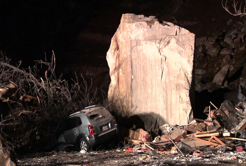 | Courtesy  A rock slide Thursday destroyed a home and killed two people in Rockville.