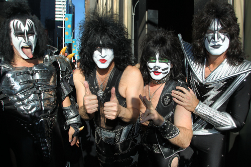 "FILE - This  Oct. 11, 2012 file image released by Starpix shows, from left, Gene Simmons, Paul Stanley, Eric Singer, Tommy Thayer of KISS as the band arrives at SiriusXM offices to promote their latest release ""Monster,"" in New York. Kiss will be inducted into the 2014 Rock and Roll Hall of Fame on April 10 at the Barclays Center in New York. (AP Photo/Starpix, Amanda Schwab, File)"