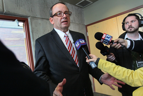Scott Sommerdorf   |  The Salt Lake Tribune Brian Tarbet responds to questions after he was he elected as the third candidate to be chosen from by Utah Governor Gary Herbert to replace AG John Swallow. After five ballots, The Republican State Central Committee chose: Sean Reyes, Robert Smith, and finally Brian Tarbet, Saturday December 13 2013.