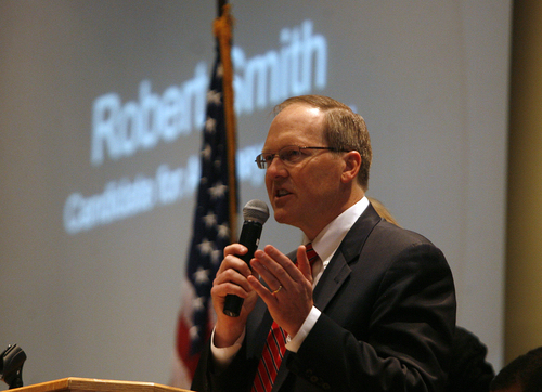 Scott Sommerdorf   |  The Salt Lake Tribune Robert Smith speaks as The Republican State Central Committee met to choose three names to send to the governor to replace AG John Swallow. After five ballots they chose: Sean Reyes, Robert Smith, and finally Brian Tarbet, Saturday December 13 2013.