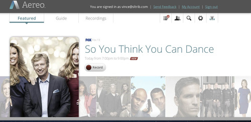 Courtesy photo Screenshot from Aereo.com, a new Internet-based TV service that is launching in Utah on Aug. 19
