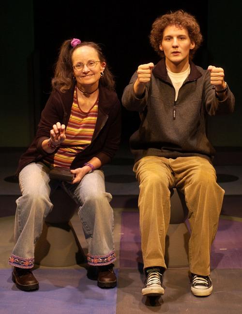 """Tribune file photo Jayne Luke (left, as Kimberly) and David Fetzer (as Jeff) in SLAC's 2003 production of """"Kimberly Akimbo."""""""
