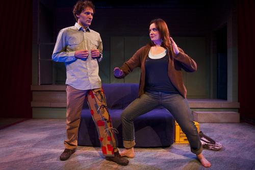 "Chris Detrick  |  The Salt Lake Tribune  David Fetzer 'Jules' and Emily Burnworth 'Jo' act out a scene of ""Boom"" at Salt Lake Acting Company in 2010."