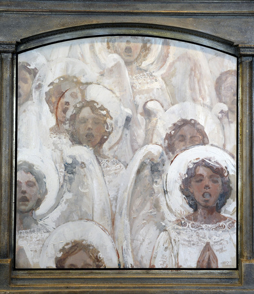 Al Hartmann  |  The Salt Lake Tribune Angels Singing in White, oil, 2012 by J Kirk Richards currently on display at the Springville Art Museum's annual Spiritual Art exhibit.  It took the First Place Award.