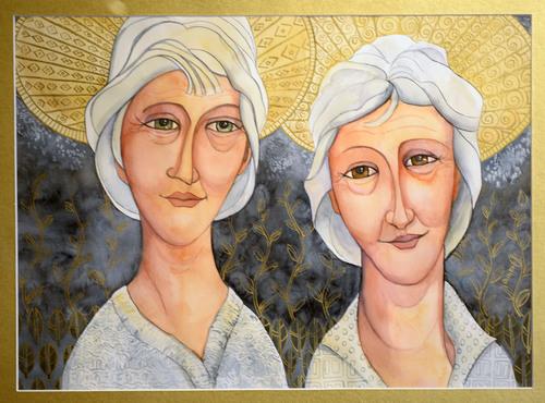 Al Hartmann  |  The Salt Lake Tribune Sister Saints, watercolor 2013 by Sandra Engle Dunbar currently on display at the Springville Art Museum's annual Spiritual Art exhibit.