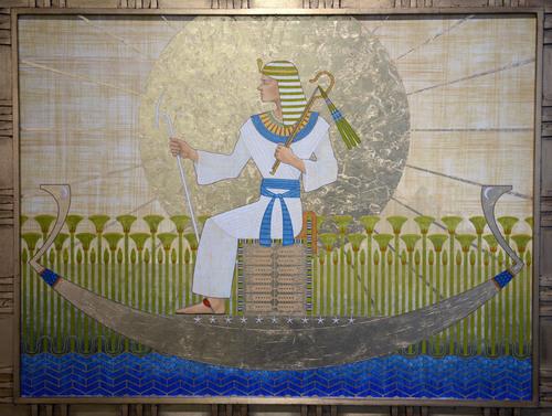 Al Hartmann  |  The Salt Lake Tribune Jospeh in Egypt, 2013 acrylic, oil, leaf by Nick Stephens currently on display at the Springville Art Museum's annual Spiritual Art exhibit.