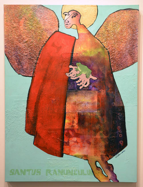 Al Hartmann  |  The Salt Lake Tribune Santos Ranunculus, 2010 acrylic/collage by Willamarie Ann Huelskamp currently on display at the Springville Art Museum's annual Spiritual Art exhibit.