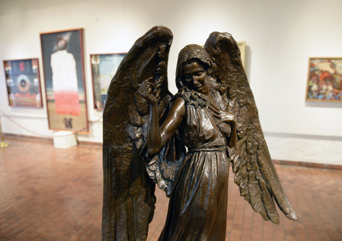 Al Hartmann  |  The Salt Lake Tribune Of Heaven and Earth, 2013 bronze (awarded second place) by Michael Aaron Hall currently on display at the Springville Art Museum's annual Spiritual Art exhibit.