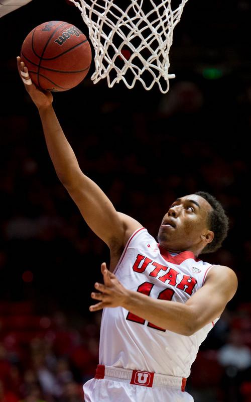 Trent Nelson  |  The Salt Lake Tribune Utahís Brandon Taylor (11) shoots the ball as the University of Utah hosts Ball State, NCAA basketball Wednesday November 27, 2013 at the Huntsman Center in Salt Lake City.