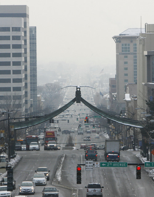 Francisco Kjolseth  |  Tribune file photo A tenacious inversion keeping temperatures below freezing pushed the Salt Lake Valley air quality into the red for weeks at a time last winter.