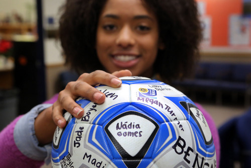 Francisco Kjolseth  |  The Salt Lake Tribune Soccer player N·dia Gomes, Brighton High School's MVP who helped bring in the 5A state title this year is certainly one of the best players the team has ever had.
