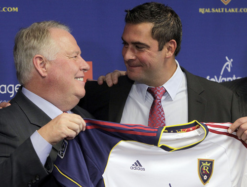Leah Hogsten  |  The Salt Lake Tribune l-r Real Salt Lake owner Dell Loy Hansen, and RSL new head coach Jeff Cassar. Cassar was named RSLís third head coach in the franchiseís 10-year history, Thursday, December 19, 2013. The hiring comes less than two weeks after Kreis, Cassarís close friend and confidant, left RSL to accept the coaching position at MLS expansion club New York City FC.