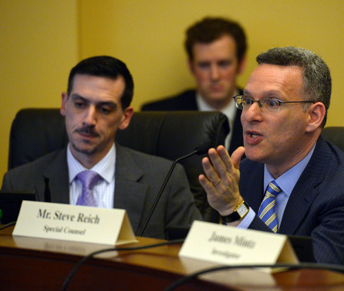 Steve Griffin     The Salt Lake Tribune   Steve Reich, right, special counsel, for the House Special Investigative Committee, answers questions as he present findings for alleged misconduct by former Attorney General John Swallow at the Capitol in Salt Lake City, Utah Thursday, December 19, 2013.