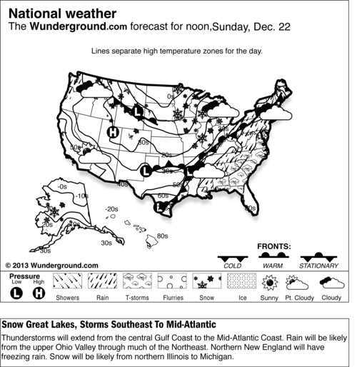 This is a Weather Underground forecast for Sunday, Dec. 22, 2013, for the U.S. Thunderstorms will extend from the central Gulf Coast to the Mid-Atlantic Coast. Rain will be likely from the upper Ohio Valley through much of the Northeast. Northern New England will have freezing rain. Snow will be likely from northern Illinois to Michigan. (AP Photo/Weather Underground)