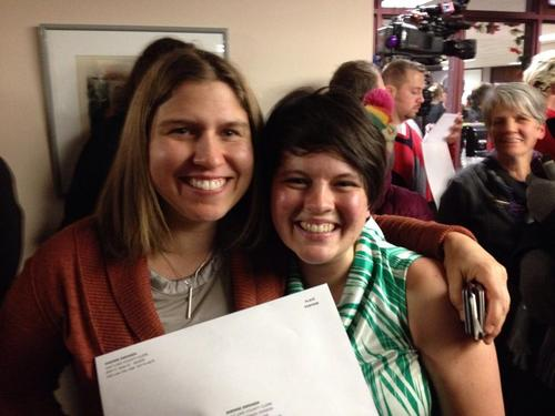 Kristen Nicole Stehel and Elaine Ball were married by Salt Lake City Mayor Ralph Becker on Friday Dec. 20, 2013 after a Utah judge ruled the state's ban on same-sex marriage unconstitutional. Courtesy: Elaine Ball