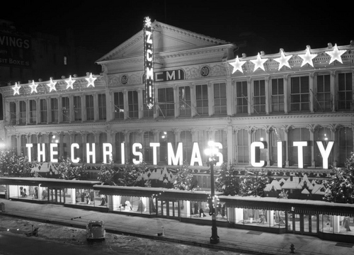 Photo Courtesy Utah State Historical Society  Z.C.M.I. building decorated for Christams in 1936.