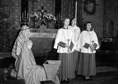 Photo Courtesy Utah State Historical Society  Image shows a Christmas program at St. Margaret's Chapel at Rowland Hall.