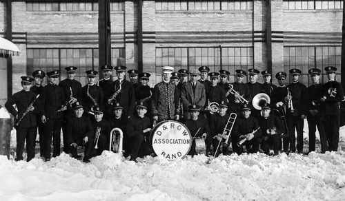 "Photo Courtesy Utah State Historical Society  D & RG Railroad Band with Oscar B. ""Doc"" Evans, conductor at their S.L.C. Christmas party."