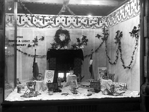 Photo Courtesy Utah State Historical Society  Christmas decorations in the window of Utah Power and Light Company located at 136 S. Main Street in Salt Lake City, Dec. 21, 1916.