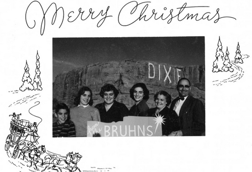 Photo Courtesy Utah State Historical Society  Christmas card with photograph of the Bruhn family in 1959.