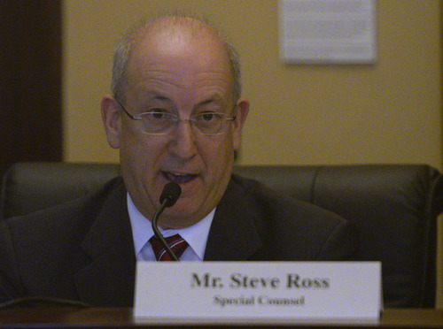 Rick Egan  | The Salt Lake Tribune   Special Counsel Steve Ross, makes a comment, as the House Special Investigative Committee reports on their findings in the Swallow probe at Utah State Capitol, Friday, December 20, 2013.