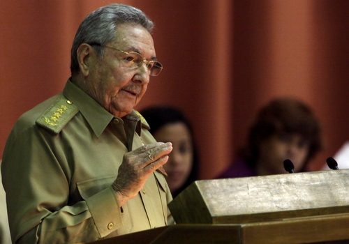 """Cuba's President Raul Castro delivers his speech at the closing of the second day of a twice-annual legislative sessions, at the National Assembly in Havana, Cuba, Saturday, Dec. 21, 2013. Castro issued a stern warning to entrepreneurs pushing the boundaries of Cuba's economic reform, saying """"those pressuring us to move faster are moving us toward failure.""""(AP Photo/Cubadebate, Ismael Francisco))"""