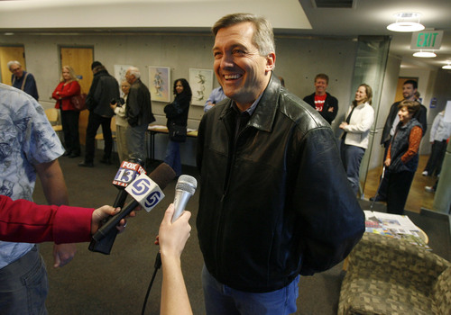 Francisco Kjolseth  |  The Salt Lake Tribune Rep. Jim Matheson expresses his enthusiasm for the campaign process as he gets ready to cast his vote for himself alongside the rest of the voting community at the Anderson Branch Library in Salt Lake City on Tuesday morning.  Salt Lake City, Nov. 02, 2010.