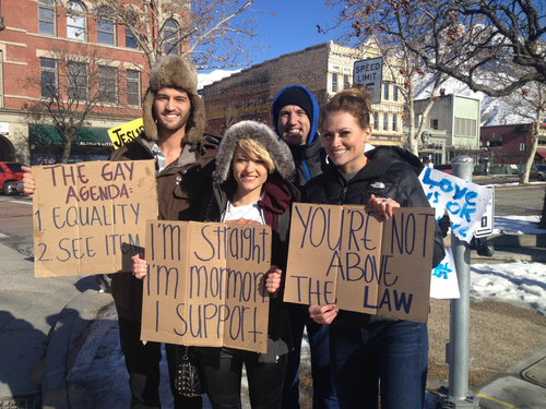 Courtesy Kendall Wilcox   Sean Mackintosh, Myley Mackintosh, Dan Larsen and Shandi Larsen, supporters of same-sex marriage, demonstrated Tuesday outside the Utah County Clerk's office, where officials have refused to wed same-sex couples.