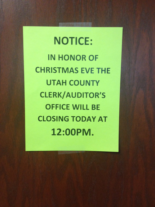 Courtesy Kendall Wilcox   A sign posted Tuesday on the Utah County Clerk's office door.