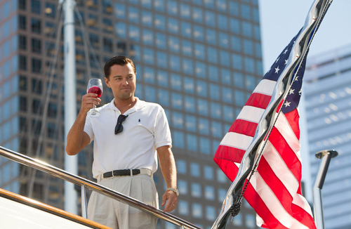 """This film image released by Paramount Pictures shows Leonardo DiCaprio as Jordan Belfort in a scene from """"The Wolf of Wall Street."""" (AP Photo/Paramount Pictures, Mary Cybulski)"""