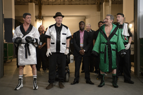 """This image released by Warner Bros. Pictures shows, from left, Sylvester Stallone as Henry """"Razor"""" Sharp, Alan Arkin as Louis """"Lightning"""" Conlon, Kevin Hart as Dante Slate, Jr., Robert De Niro as Billy 'The Kid' McDonnen and Jon Bernthal as B.J. in a scene from """"Grudge Match."""" (AP Photo/Warner Bros. Pictures, Ben Rothstein)"""