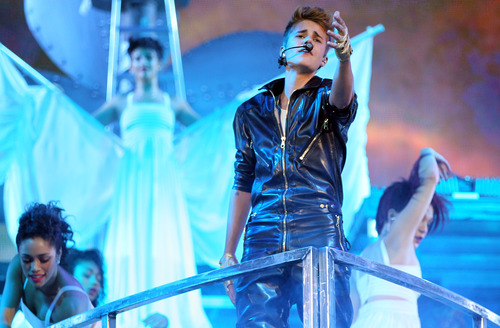 Musician Justin Bieber performs during the Believe Tour at Staples Center on Tuesday, Oct. 2, 2012, in Los Angeles. (Photo by Matt Sayles/Invision/AP)