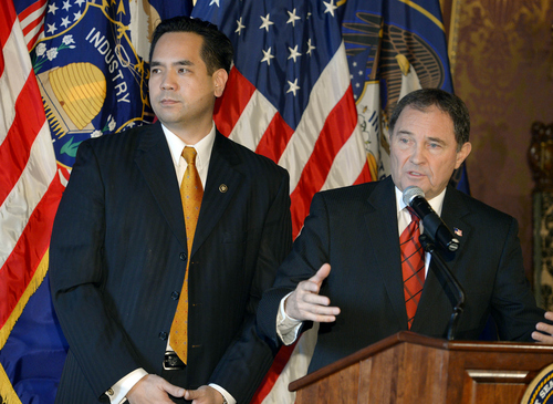 Keith Johnson | The Salt Lake Tribune  New Utah Attorney General Sean Reyes, left, and Utah Governor Gary Herbert answer questions about Utah's gay marriage ruling, December 23, 2013 after Governor Herbert announced Reyes as Utah's new attorney general. Reyes takes office after former Attorney General John Swallow resigned amid allegations of impropriety.