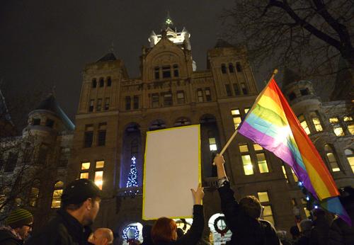 "Rick Egan  | The Salt Lake Tribune   Crowds cheer during the ""Celebrate Marriage Equality Rally"" at Washington Square,Monday, December 23, 2013."