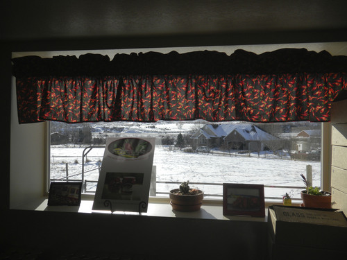 A window decorated by pepper curtains looks out on Pepperlane founder Michele Trover's Wanship home. (Tom Wharton Photo)
