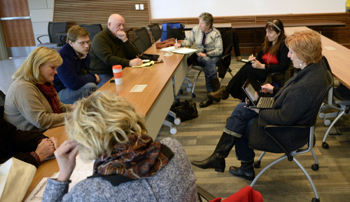 Al Hartmann  |  The Salt Lake Tribune Jill Remington Love, right,  meets with members of community councils to discuss neighborhood issues Thursday Dec. 5, 2013. She is leaving the Salt Lake City Council after three four-year terms.