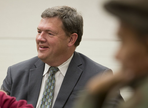 Lennie Mahler  |  The Salt Lake Tribune Carlton Christensen, District 1 Representative in the Salt Lake City Council, meets with the Fairpark Community Council at the Northwest Community Center on Thursday, Dec. 5, 2013. Christensen is leaving the council after serving for 16 years.