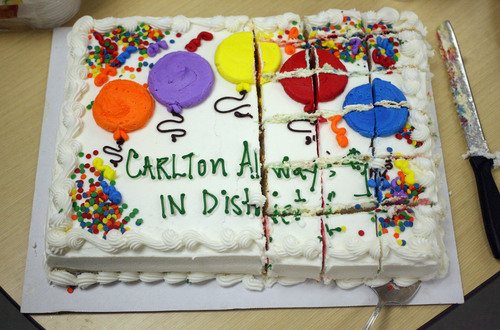 Lennie Mahler  |  The Salt Lake Tribune The Fairpark Community Council presented Carlton Christensen with a cake celebrating his 16 years as District 1 Representative of the Salt Lake City Council.