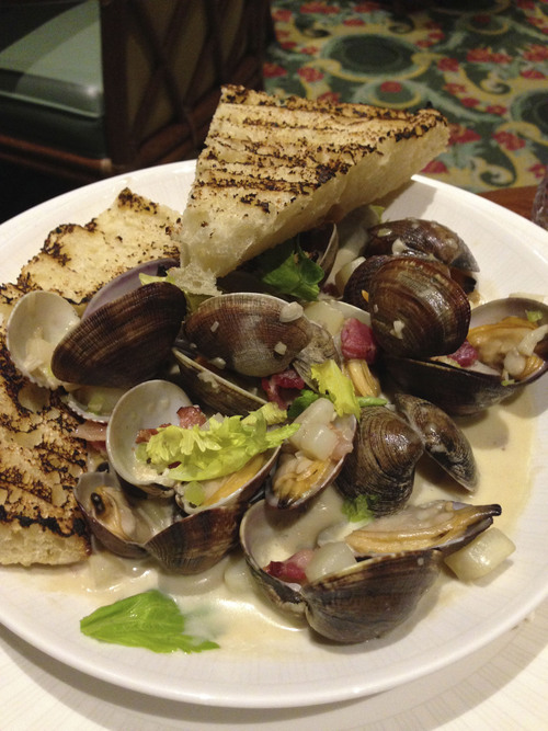Heather L. King  |  Special to the Tribune Top Utah dishes of 2013: The Grand Americaís Garden CafÈ is featuring a foreign treasure: Manila clams
