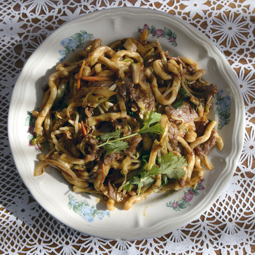 Al Hartmann  |  The Salt Lake Tribune Top Utah dishes of 2013: Shanghai Fat Noodles with beef and vegetables at Boba World Shanghai Cuisine at 750 S. Highway 89 in Woods Cross.