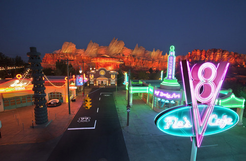 "This May 2012 photo released by Disneyland shows the new 12-acre Cars Land, a replica of Radiator Springs, the town in the popular ""Cars,"" film franchise at Disney California Adventure park at Disneyland Resort in Anaheim, Calif. A survey of human resource managers found they encouraged employees to take all their vacation time because it leads to more productive workers.  (AP Photo/Disneyland Resort, Paul Hiffmeyer)"