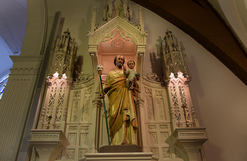 Scott Sommerdorf   |  The Salt Lake Tribune This is the only sculpture or carving of St. Joseph in the sanctuary of St. Joseph's parish in Ogden, Wednesday December 18, 2013.