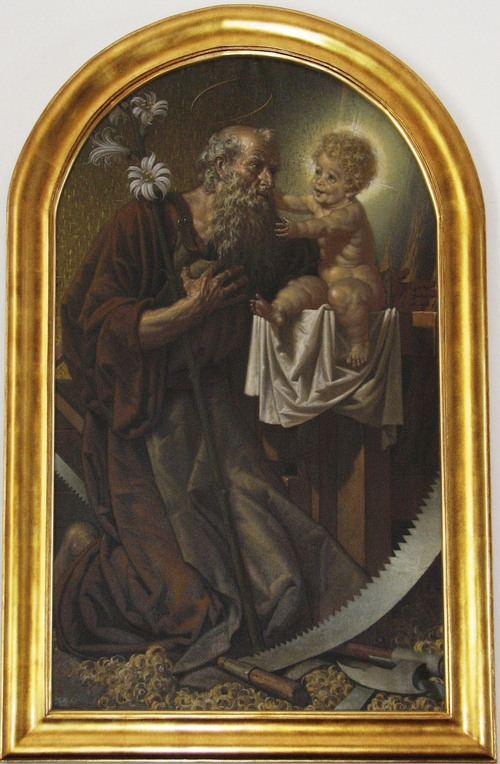 | Courtesy  Saint Joseph and his child Jesus. The painting can be seen in the Greek Catholic Cathedral of Hajdúdorog, Hungary.