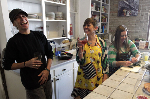 Leah Hogsten  |  The Salt Lake Tribune Newlyweds Pidge Winburn (left) and Amy Fowler (right) celebrated Christmas Day brunch with friends at their home. The two were married Monday, December 23. Wednesday, December 25th.