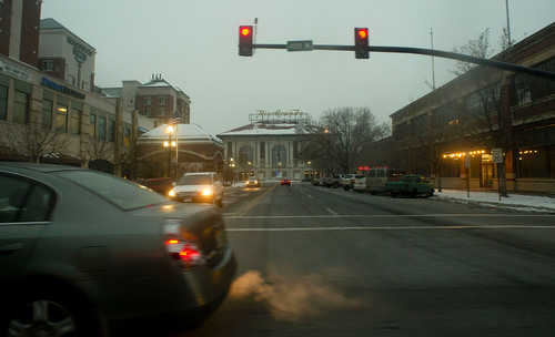 Jeremy Harmon  |  The Salt Lake Tribune  Salt Lake City's historic Rio Grande station is seen in this view looking west from the intersection at 300 S 400 West on Wednesday, Dec. 18, 2013 just as the evening commute starts on a day when the city is cloaked in pollution from an inversion.