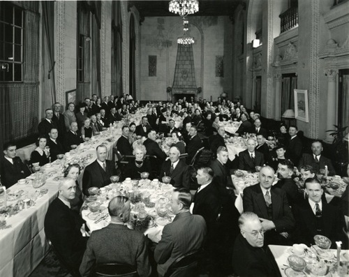 Dinner party for the Southern Pacific Railroad Old Timers Club in 1947. Courtesy of Weber State University, Stewart Library