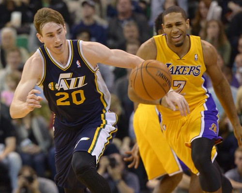 Leah Hogsten  |  The Salt Lake Tribune Utah Jazz shooting guard Gordon Hayward (20) steals from Los Angeles Lakers small forward Xavier Henry (7). The Utah Jazz defeated the LA Lakers 105-103, Friday, December 27, 2013 at Energy Solutions Arena in Salt Lake City.