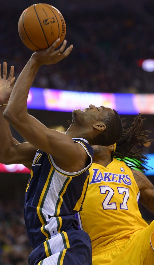 Leah Hogsten  |  The Salt Lake Tribune Utah Jazz point guard Alec Burks (10) had 13 points. The Utah Jazz defeated the LA Lakers 105-103, Friday, December 27, 2013 at Energy Solutions Arena in Salt Lake City.