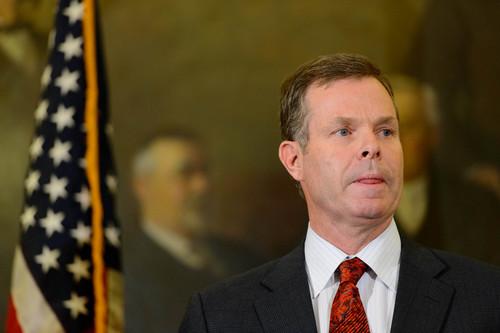 Trent Nelson     The Salt Lake Tribune Utah Attorney General John Swallow announces his resignation, Thursday November 21, 2013 in Salt Lake City.