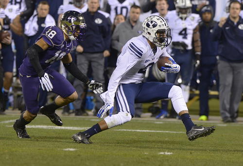 Scott Sommerdorf   |  The Salt Lake Tribune Brigham Young Cougars wide receiver Cody Hoffman (2) runs for yards after a catch during first half play at the Fight Hunger Bowl at AT&T Park in San Francisco, Friday December 27, 2013.